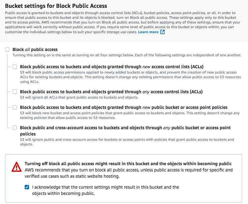 Remove S3 access blocking and make the bucket public