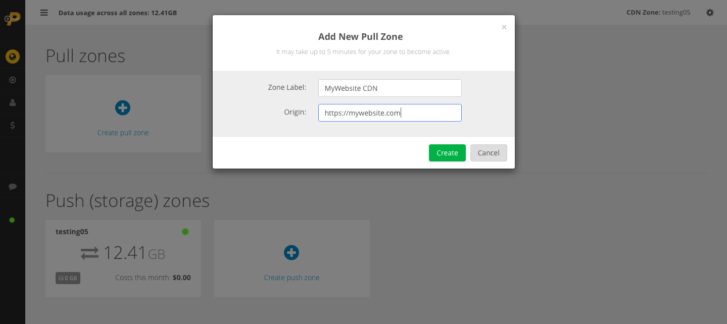 How to create a CDN pull zone