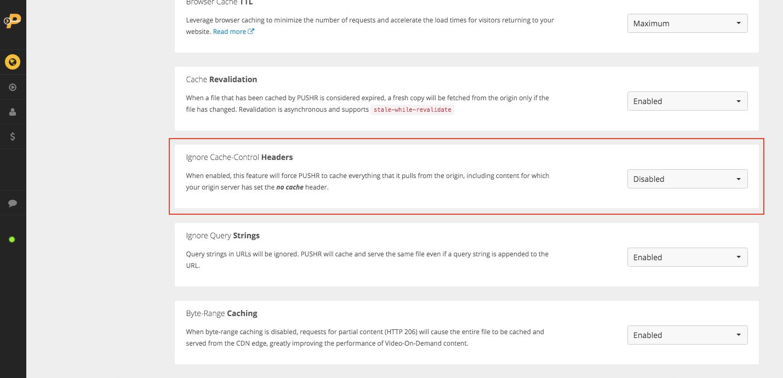 Ignore cache-control headers for CDN cache